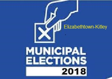 Blue square advertising the 2018 Municipal Elections on Monday October 22, 2018
